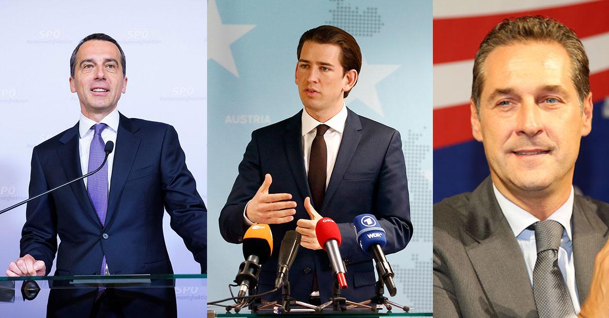 Auf diesem Bild sind 3 bekannte Gesichter der österreichischen Politik zu sehen.
